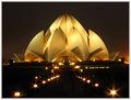 Beautiful Lotus Temple in night light.