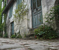Paved street in a medieval village