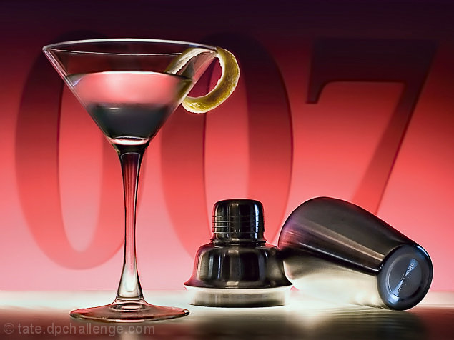 """A medium dry martini, lemon peel, shaken, not stirred."" (from Dr. No, 1962)"