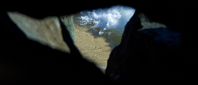 The Sea through Rock Cave Peep Hole