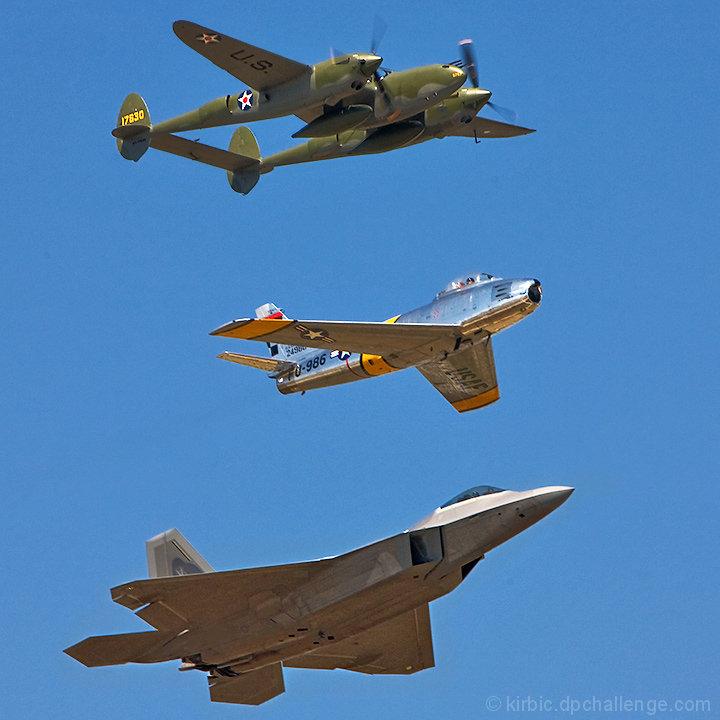 Fighter Evolution: P38 Lightning, F86 Sabre, F22 Raptor