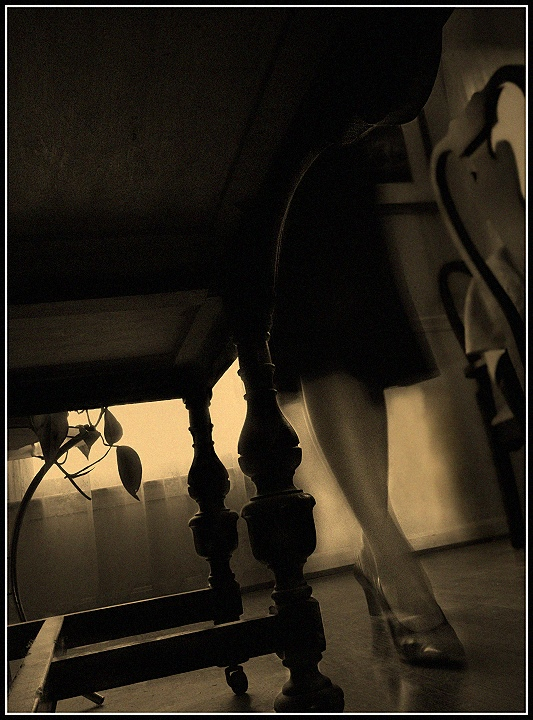 Hiding Under Nana's Dining Room Sideboard