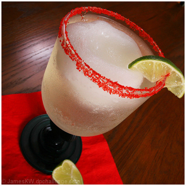 Margarita-1oz Lime Juice, 1oz Cointreau, 2oz Tequila, Fine Sea Salt, Ice