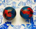 Dragon and Phoenix on Blue Mikado