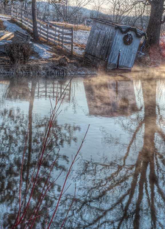 Leaning Shed on Steaming Winter Pond