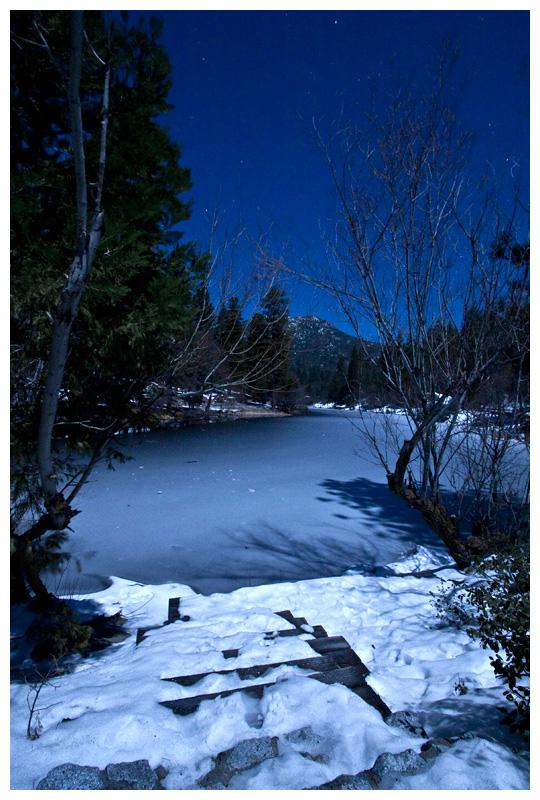 Frozen Moonlit Lake