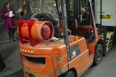 Orange Fork Lift Truck