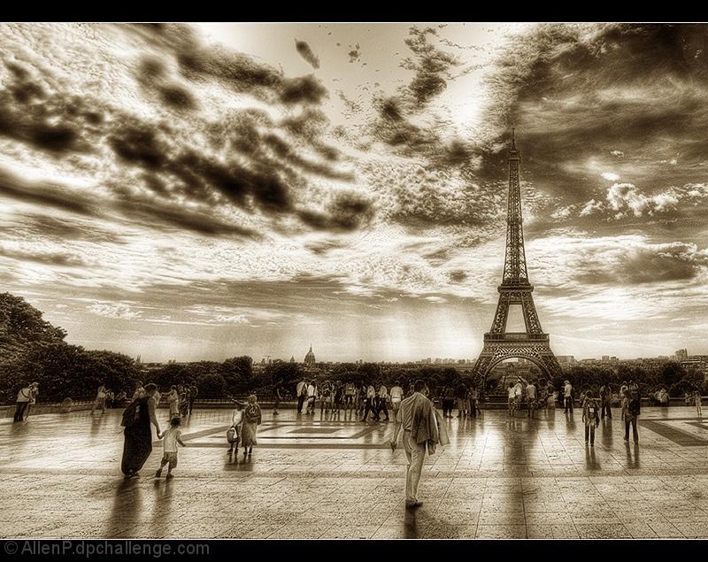 Tourists buzzing around the Eiffel Tower