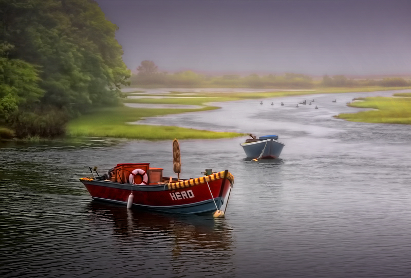 Red Skiff, Blue Skiff, Geese Foraging in the Morning Mist...