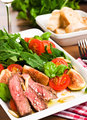 Summer Salad With Roast Beef, Figs, Tomatoes and Arugula
