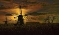 Evening sun and old windmills