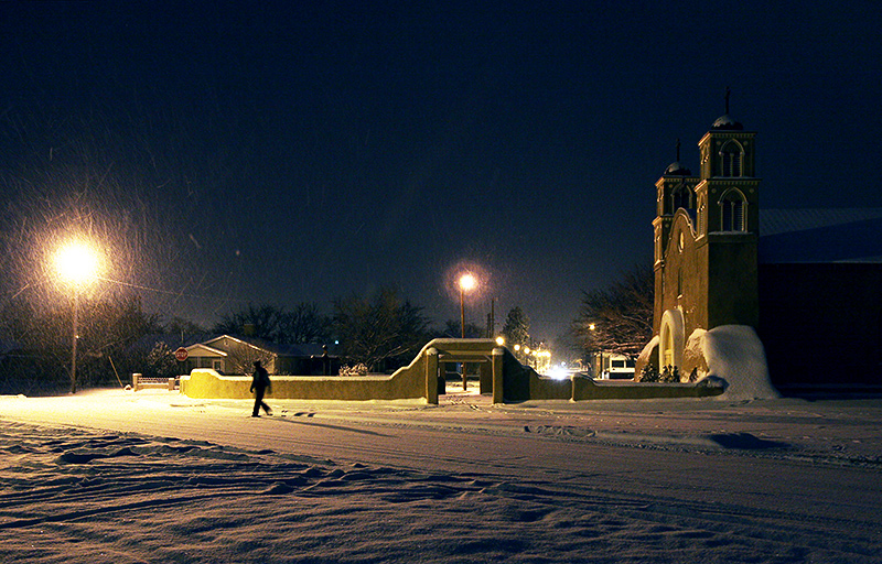 Snowy Old San Miguel Mission
