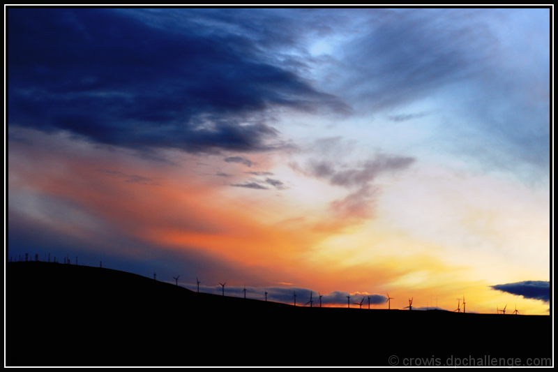 Stormy Sunset at the Windfarm