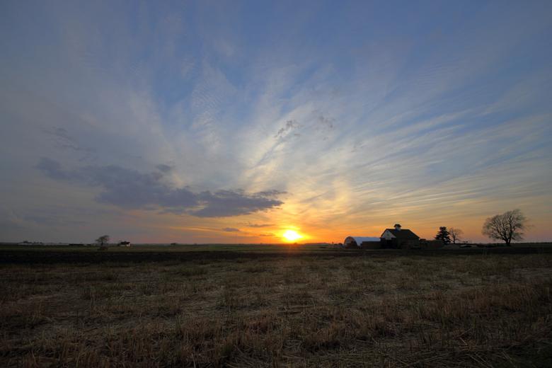 Sun setting over the plains