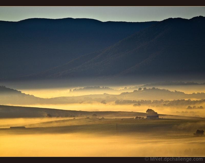 Fog Glowing at Sunrise