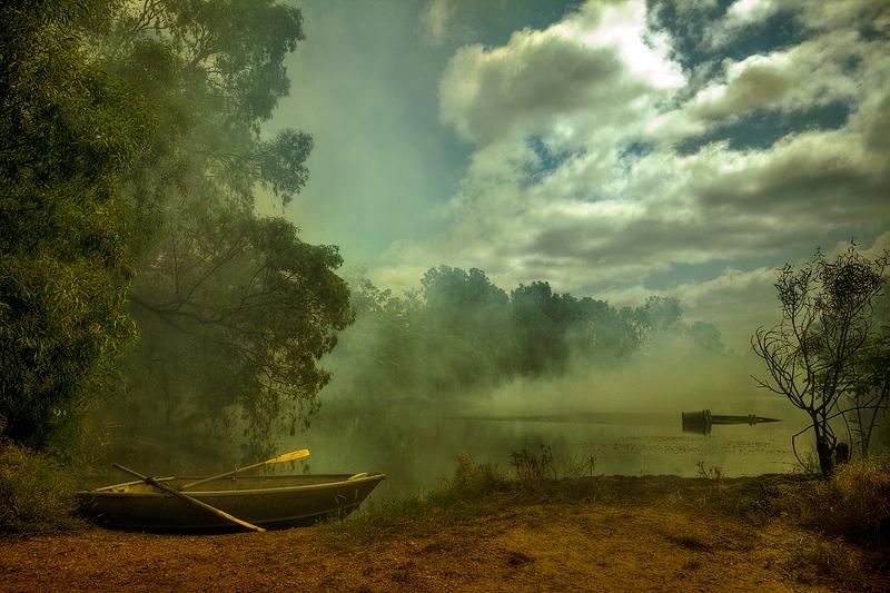 Mist over smoky water