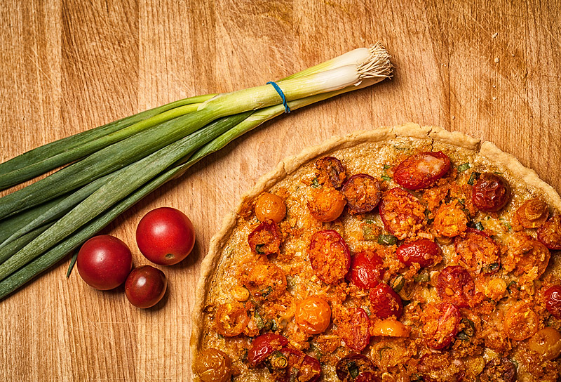 Corn and Heirloom Tomato Tart