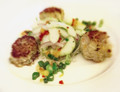 Gold Coin Crab Cakes w/ Spicy Cucumber Salad