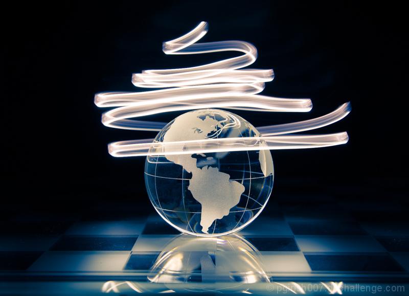 Spiral light around globe!