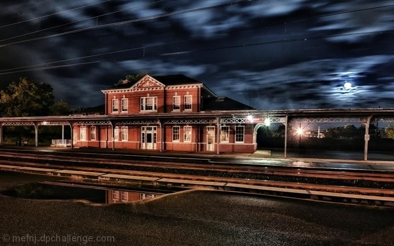 Moonrise over West Trenton Station