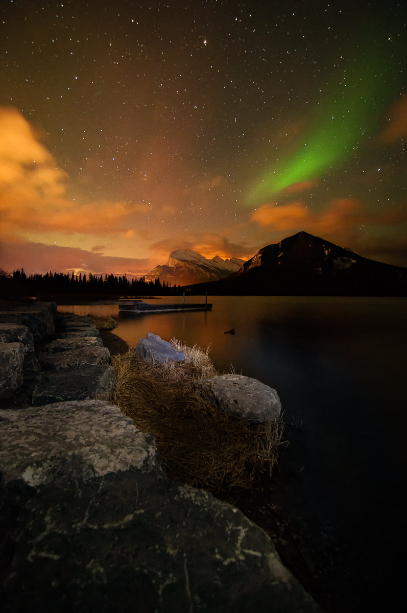 Northern Lights over Vermilion Lakes