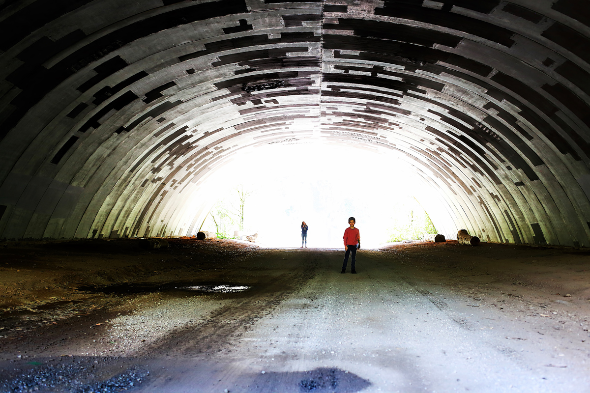 into the tunnel