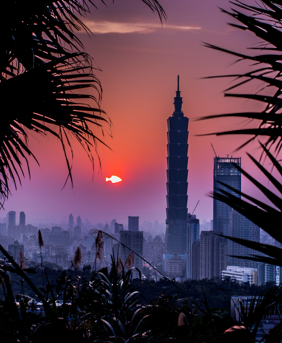 Sunset over Taipei on April 1st
