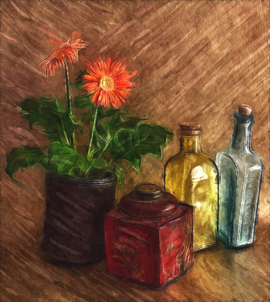 Still Life with Gerbers, Bottles, and Tea Tin
