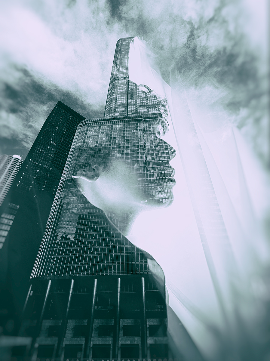 She towered over them