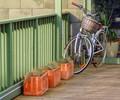 Bicycle, basket, balustrade, boxes, boards, blocks....