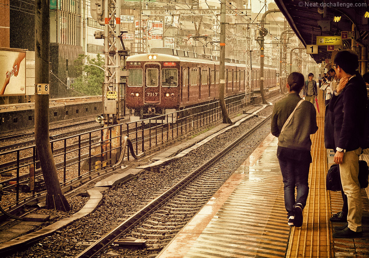 Commuters await