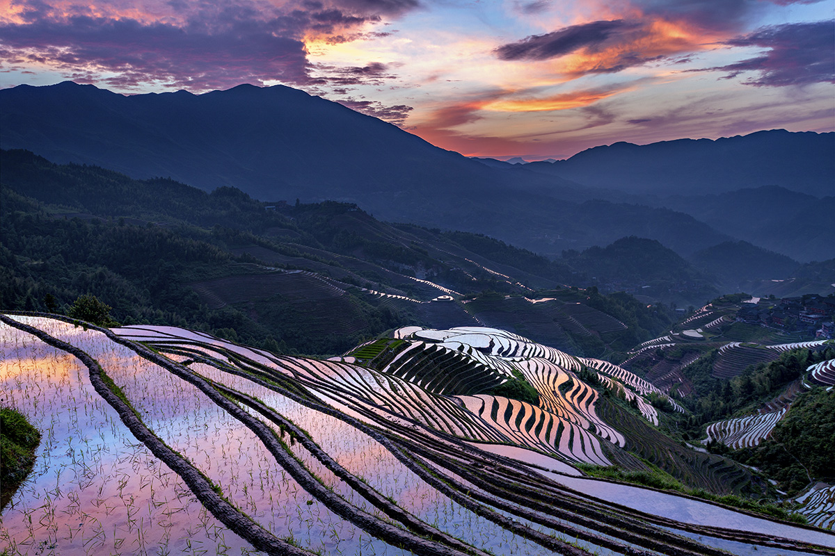 Relections of colors at Longji Rice Terraces