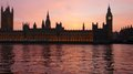 London: the Parliament at sunset