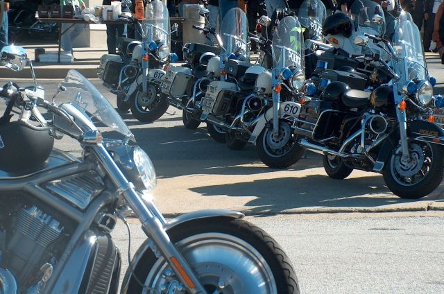 Wheels ready to roll escorting riders in the 5th annual Care for Cops Motorcycle Ride