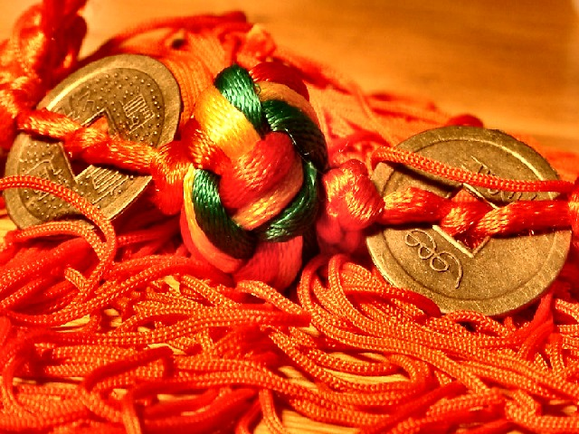 Red Silk with Knot and Coins