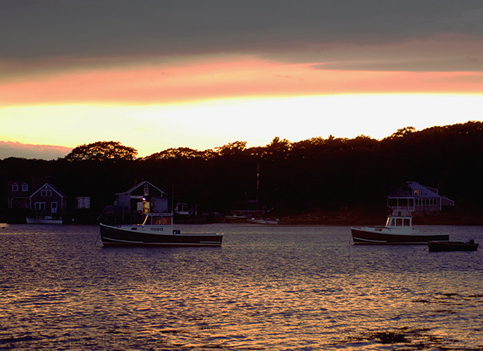 Lobster Boats in Harbor at Sunset