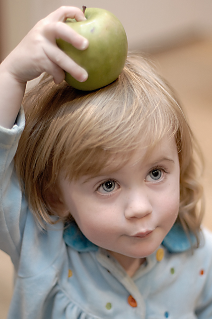 """Hey Dad, what's with the apple on my head?"""