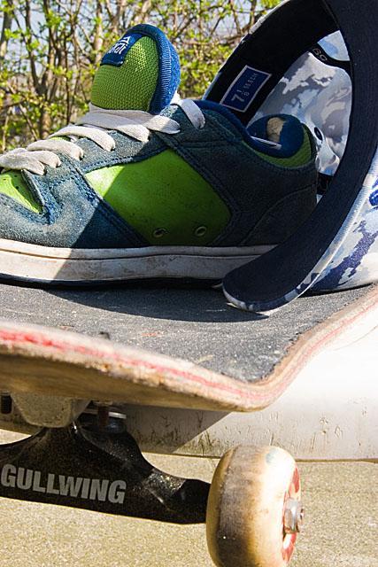 Skateboarders break