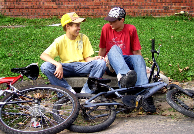 Two Boys. Two Bicycles.