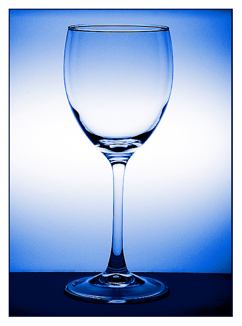 one item, wine, glass, drink, vertical, nobody, close-up, empty, curve, blue, fragile, transparent