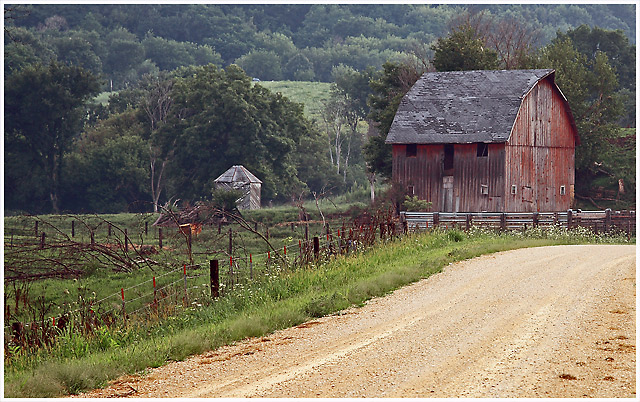 Gravel roads and Barns