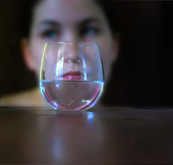 through the drinking glass