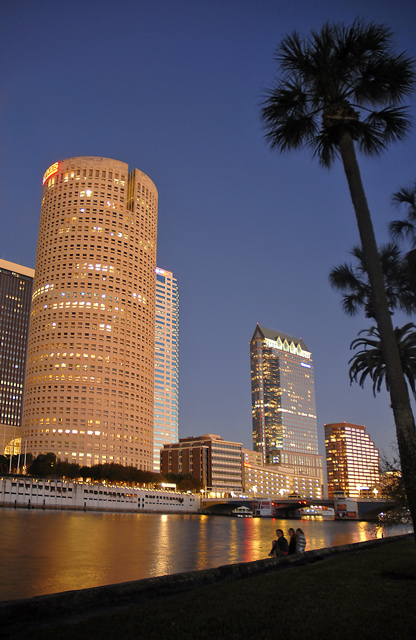 Solstice sunset on downtown Tampa
