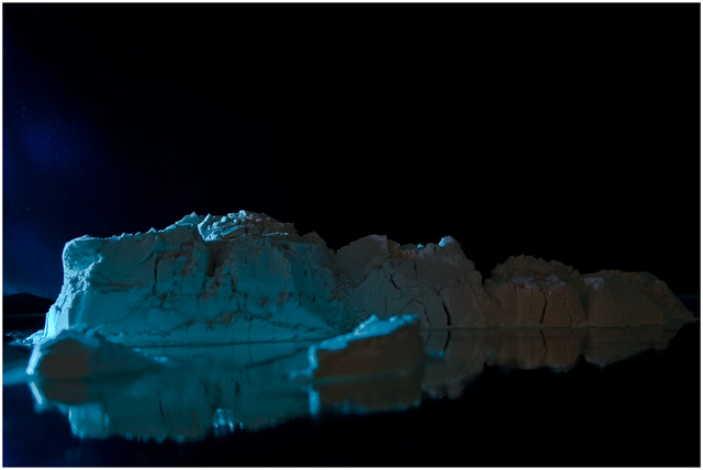 Icebergs basking in the moon light.
