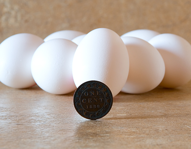 Eight eggs in 1888 for 1 cent...