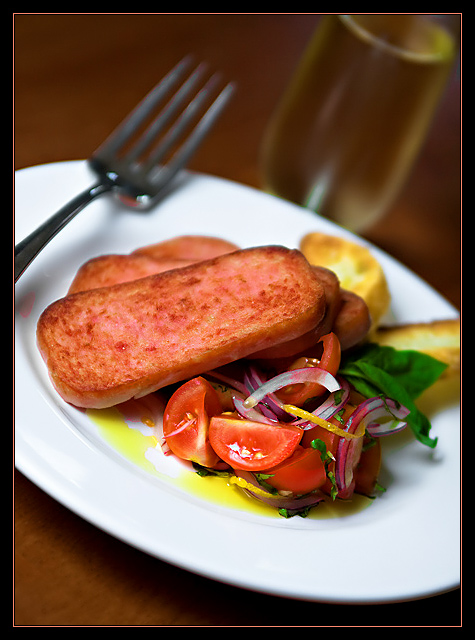 Pan Fried Spam with Fresh Tomato & Basil Salad