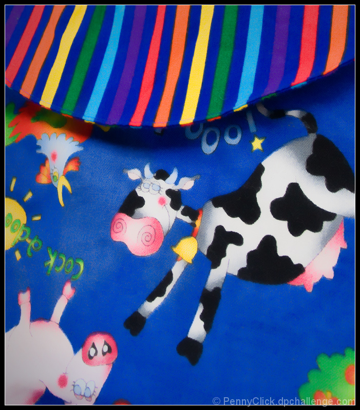 Rainbow Collar on a Moo-Cow Shirt