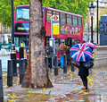 Bus, Union Flag Umbrella and Rain!