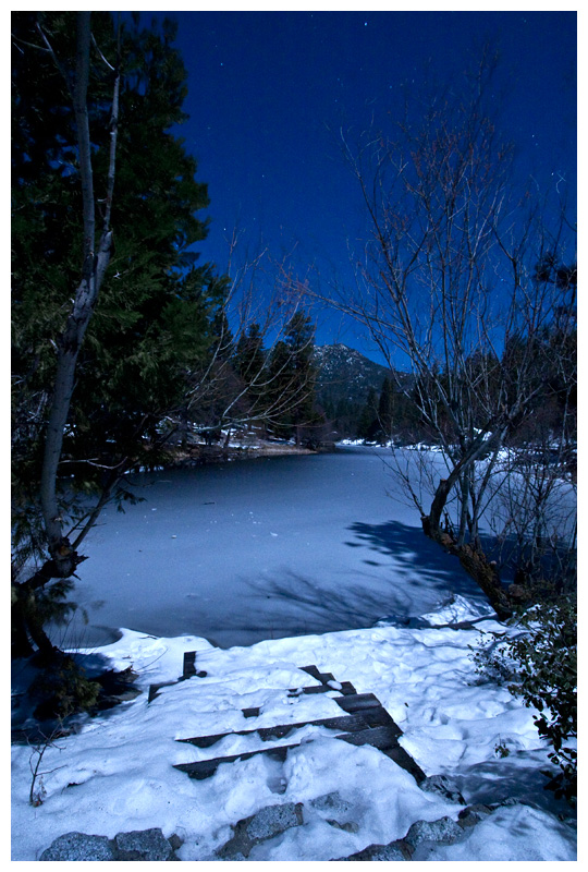 Frozen Moonlit Lake