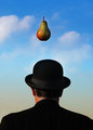 The bowler, variation on Magritte's theme.